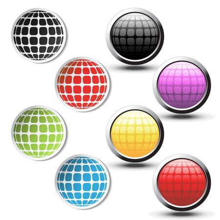 Vector globe stickers and buttons Vector