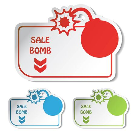 bomb price: Vector sale labels Illustration