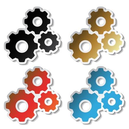 Vector tandwiel stickers Vector Illustratie