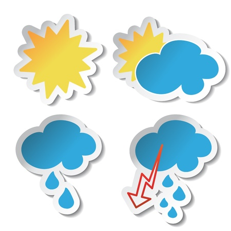 sunny cold days: Vector weather stickers