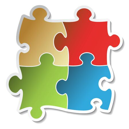 puzzle jigsaw: Vector puzzle sticker