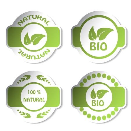 Vector stickers - bio, naturel