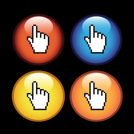 Vector buttons with cursor of hand Vector