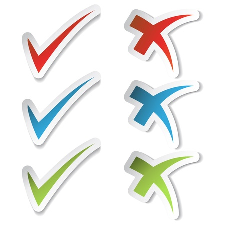 ticks: Vector check mark stickers Illustration