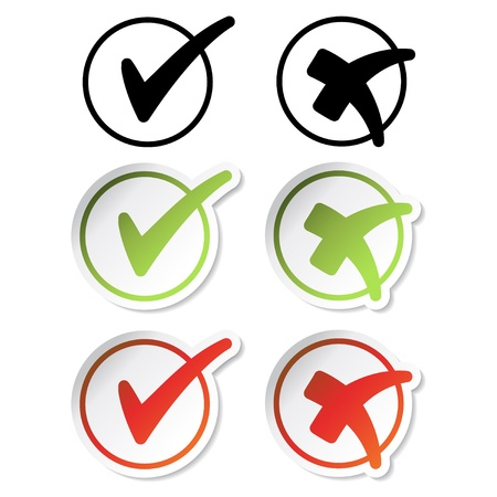 Vector vinkje stickers Vector Illustratie