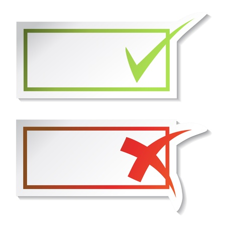 yes no: Vector check mark stickers Illustration