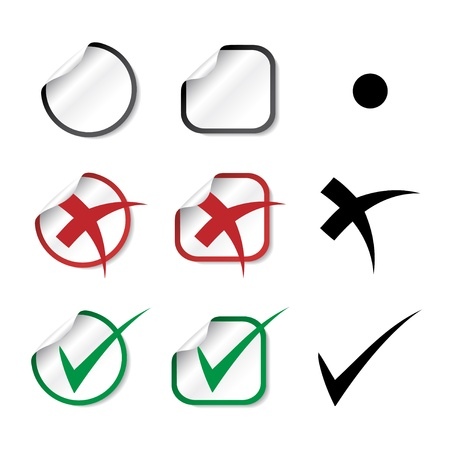 approved icon: Vector check mark stickers Illustration