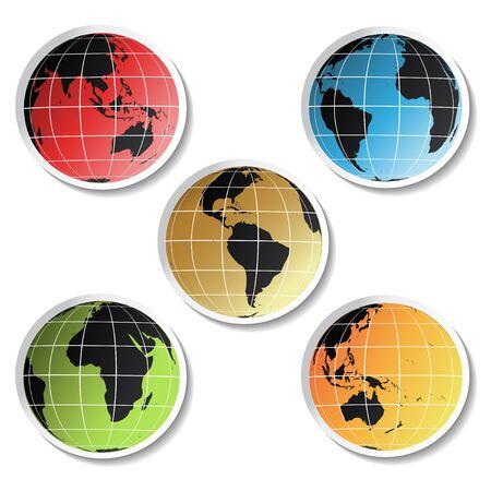 globe asia: Vector stickers of globe
