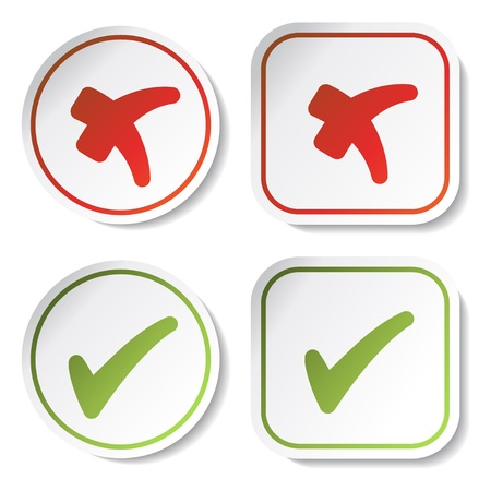white check mark sign: Vector stickers - check marks Illustration