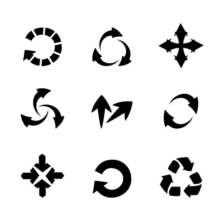 circular silhouette: Vector set of  arrows Illustration