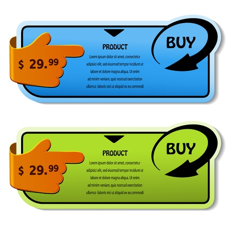 sticky hands: Vector shopping banners