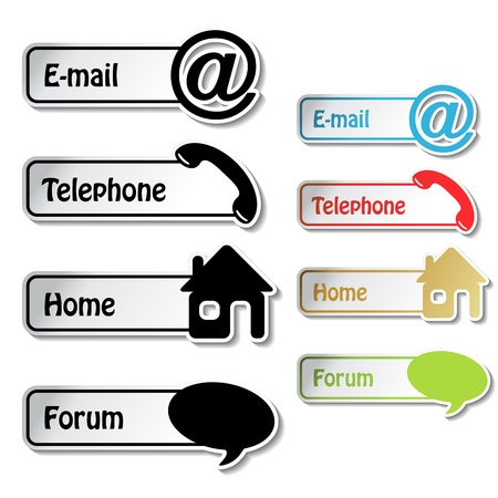 vector banners: Vector banners - phone, email, home, forum Illustration