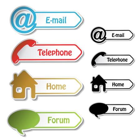 mobilhome: Banni�res Vecteur - t�l�phone, e-mail, � domicile, forum Illustration