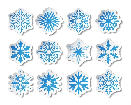 snow crystals: Vector stickers of snowflake