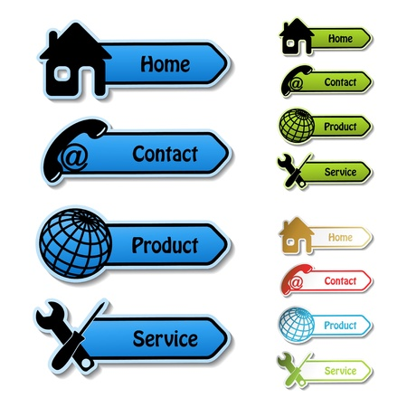 home button: Vector banners - home, contact, product, service