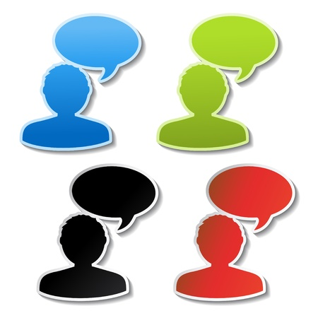 mail box: Vector announcement stickers - chat icon