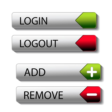 login button: Vector set of buttons