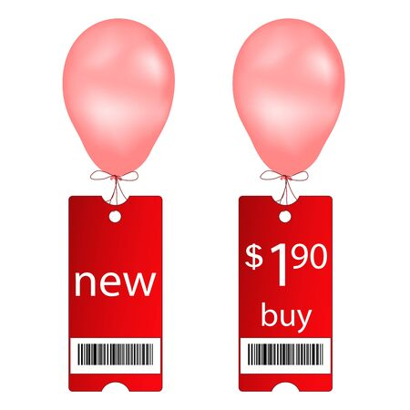 ean: Vector new and buy tags with fly balloon