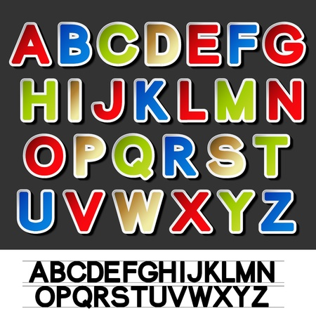 Vector stickers of alphabet Stock Vector - 11513243