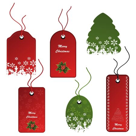sewn: Vector set of Christmas tags