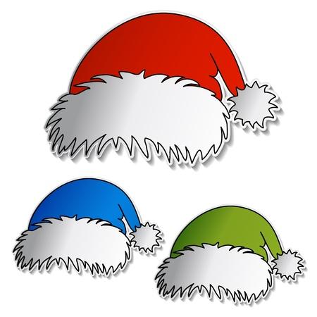 paper hats: Vector Santa hats