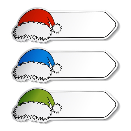 paper hats: Vector Santa hats with label