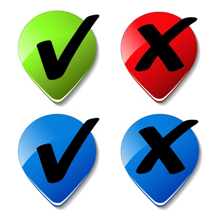 yes or no: Vector check mark buttons Illustration