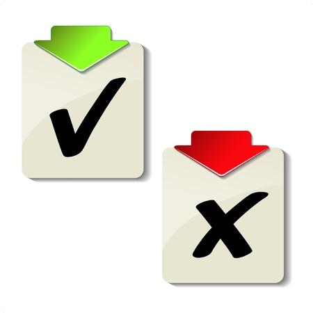 cross mark: Vector check mark labels