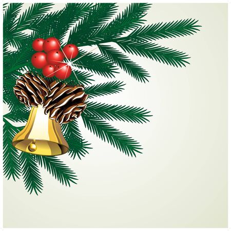 christmas bells: Vector twig of tree with cones and bell