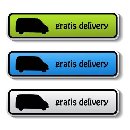 gratis: Vector stickers of gratis delivery Illustration