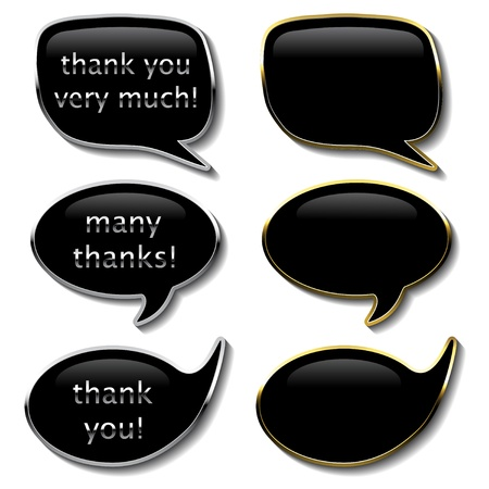 thank you very much: Vector announcement bubbles