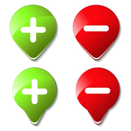 Vector color buttons - plus, minus Illustration