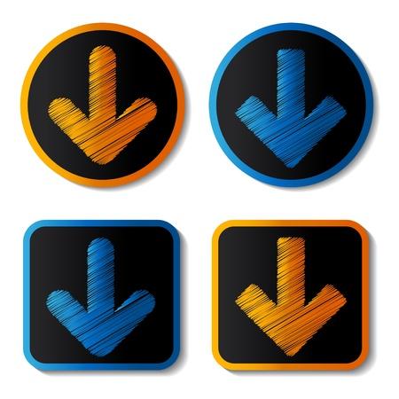 vector download: Vector download buttons