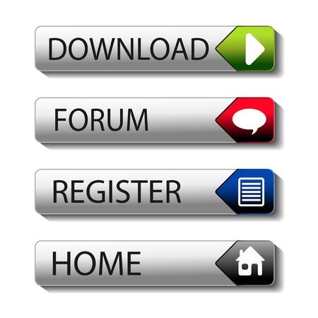 sig: Botones vectoriales para descargar, foro, registro, hogar