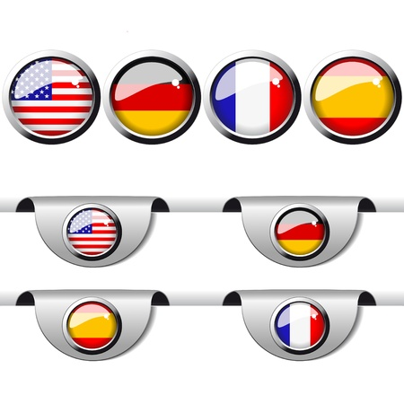 flag french icon: Vector language pointer for web Illustration