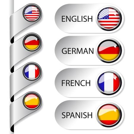bandera inglesa: Vector puntero del lenguaje para la web Vectores