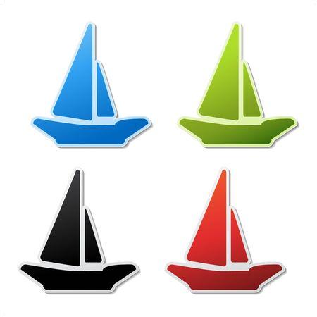 Vector stickers of ship Vector