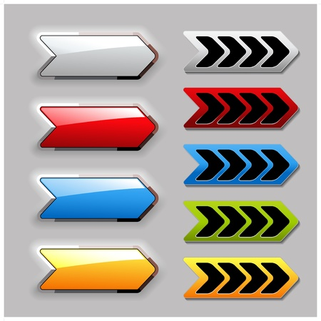 click here: Vector set of arrow buttons Illustration