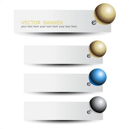 Vector set of banners with pushpin