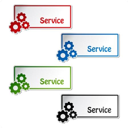 herramientas de mecánica: Etiquetas vectoriales de servicio