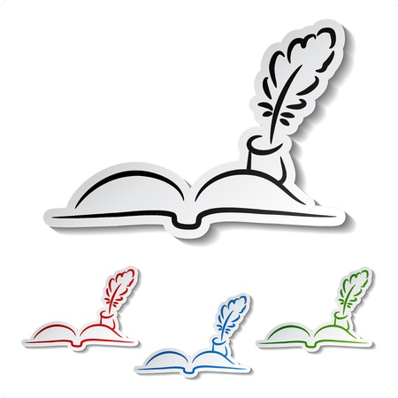 feather pen: Vector feathers with book -  communication icons