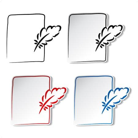 Vecteur plumes avec feuille de papier
