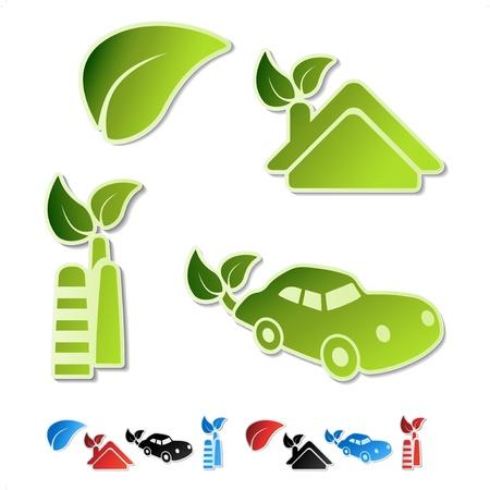 smokestack: Vector symbols of ecology (bio, eco, natural, organic) Illustration