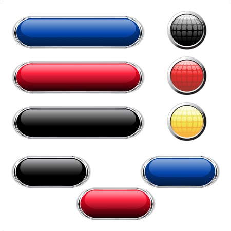 Vector glossy buttons for web Illustration