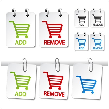 cart icon: Vector add delete shopping cart item Illustration