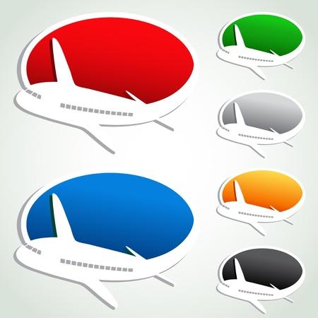 avioncitos: Burbujas vectoriales publicitarios con el avi�n Vectores