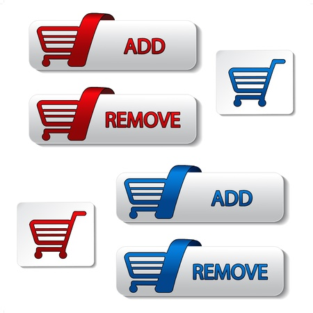 Vector add delete shopping cart item Ilustracja