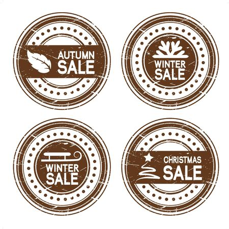 Vector autumn, winter, Christmas sale stamps Vector