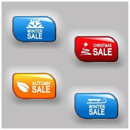 Vector autumn, winter, Christmas sale buttons Vector