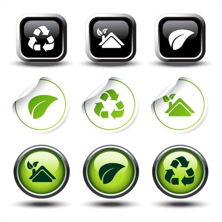 Vector set of recycle buttons and stickers Stock Vector - 11651781